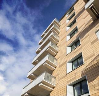 חיפוי מבנה דירות דמוי עץ