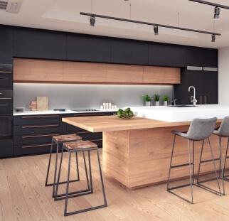 חיפוי מטבח מראה עץ - זכוכית (5)